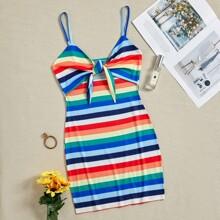 Multi Stripe Tie Front Cami Dress