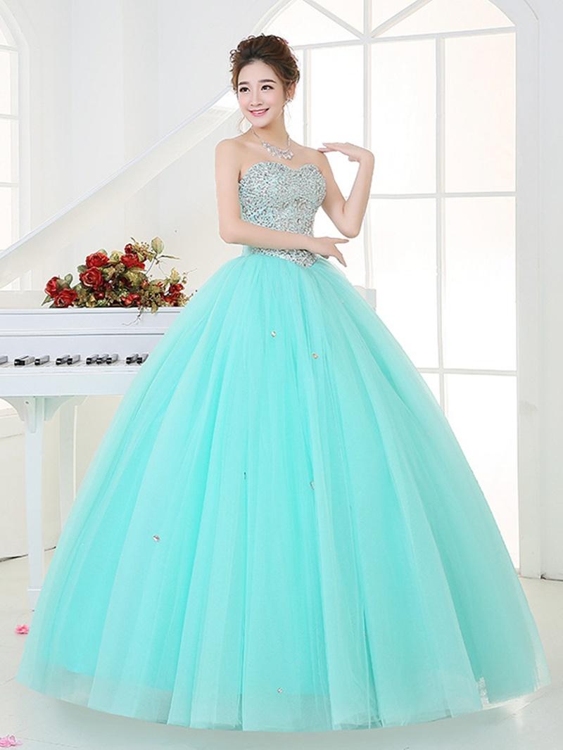 Ericdress Sweetheart Ball Gown Beaded Sequins Floor-Length Quinceanera Dress
