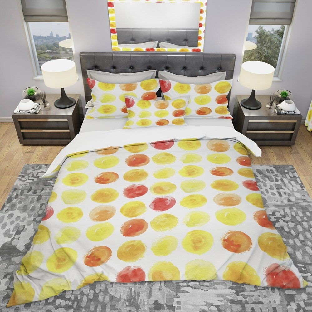 Designart 'Pattern with Yellow Watercolor Spots' Modern & Contemporary Bedding Set - Duvet Cover & Shams (Twin Cover + 1 sham (comforter not