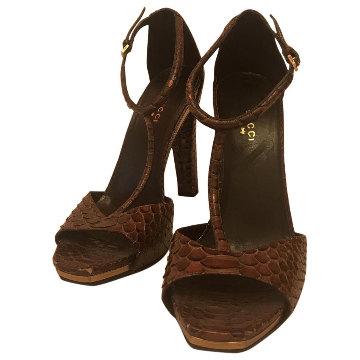 Gucci \N Brown Python Sandals for Women 39 EU
