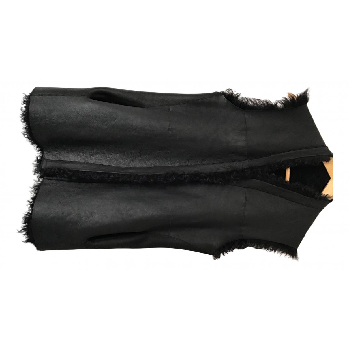 88 & Half - Veste   pour femme en cuir - noir
