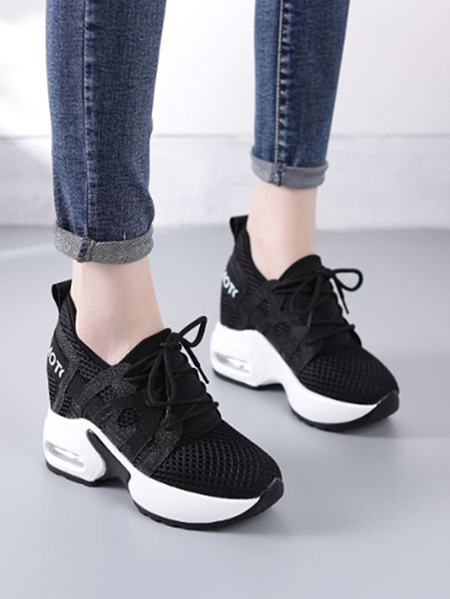 Yoins Increased Mesh Sheer Lace-up Sneakers