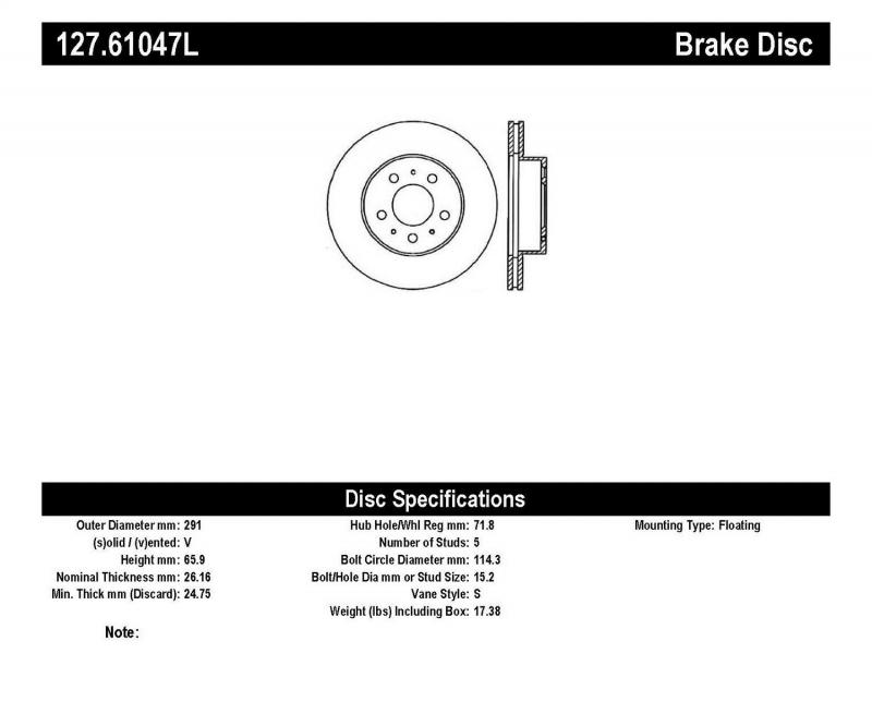 StopTech 127.61047L Sport Drilled/Slotted Brake Rotor; Front Left Ford Crown Victoria Front Left 1995-1997