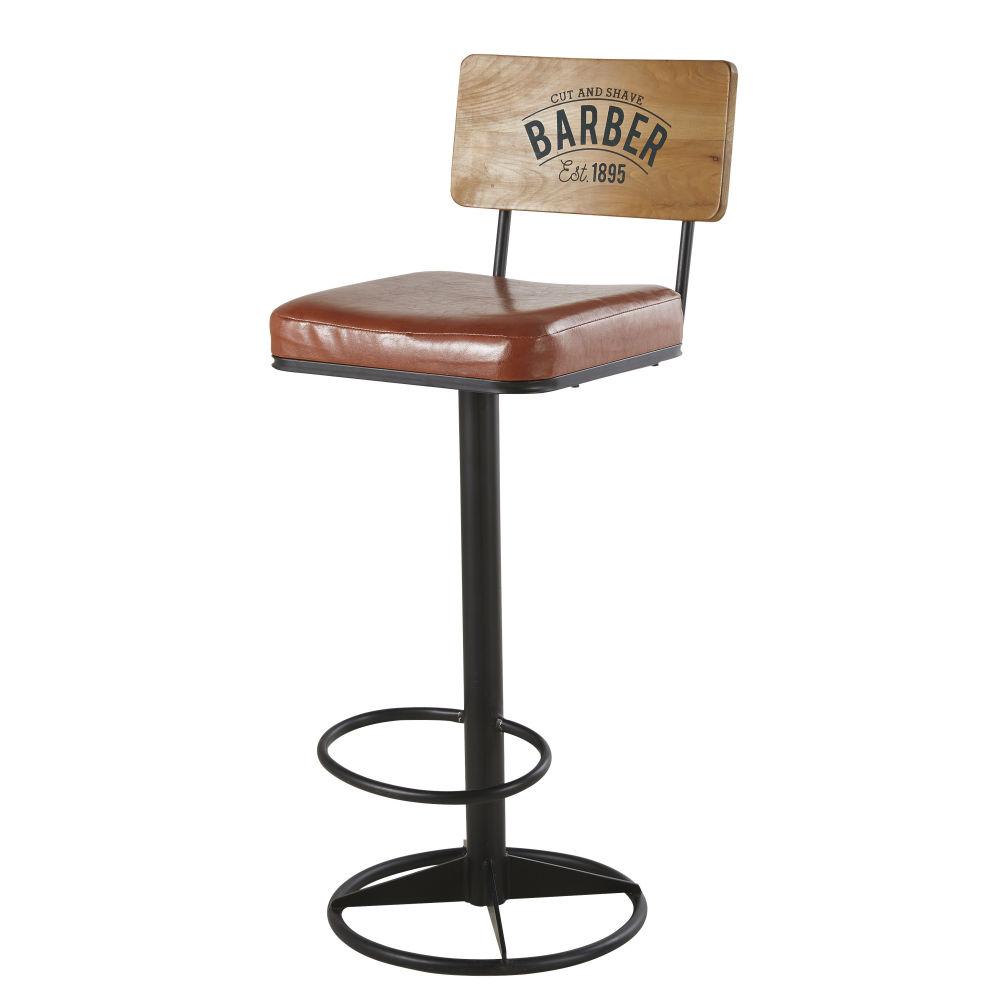 Barstuhl aus schwarzem Metall mit beschichtetem braunem Textilbezug Harvey
