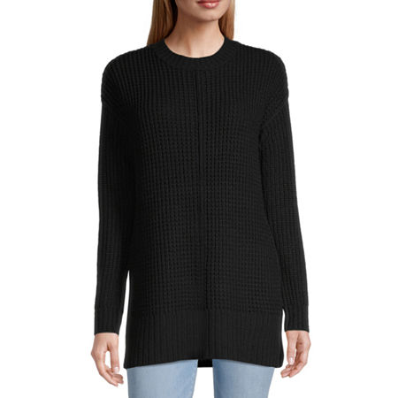 Arizona-Juniors Womens Round Neck Long Sleeve Striped Pullover Sweater, X-large , Black