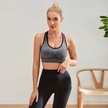 Contrast Binding Ruched Sports Bra