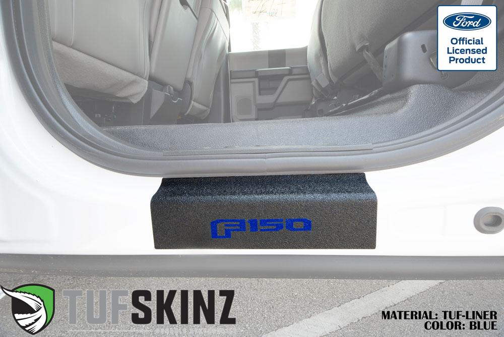 Tufskinz SUP058-FRD-TFLMP-225-X Door Sill Protection TUF-LINER Series F-150 Logo Blue Rear Doors 2 Piece Kit