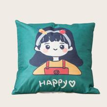 Cartoon Girl Print Cushion Cover Without Filler