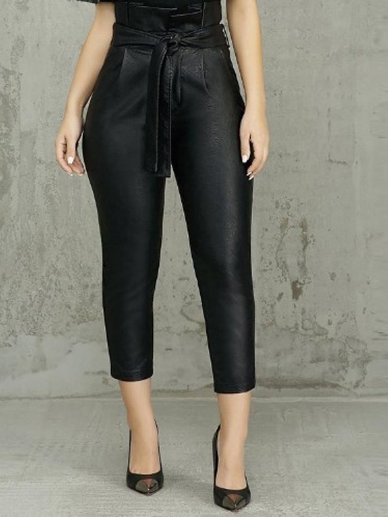 Ericdress Plain Slim Ankle Length High-Waist PU Casual Pants