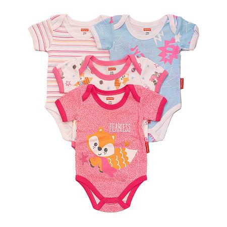 Fisher-Price Baby Girls 4-pc. Bodysuit, 6-9 Months , Pink