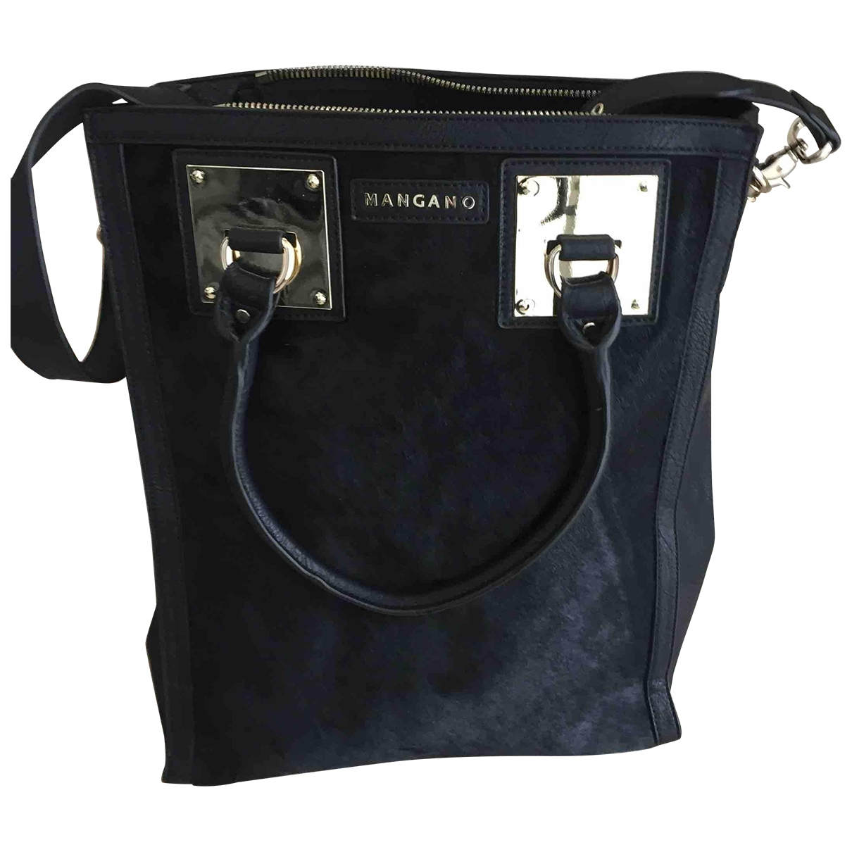 Mangano \N Black Leather handbag for Women \N