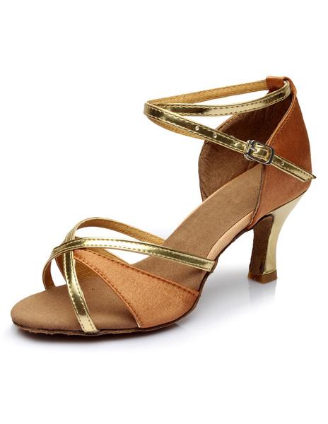 Milanoo Multicolor Latin Dance Sandals Straps Satin Heels