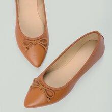 Bow Front Pointed Toe Slip On Ballerina Flats