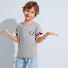 Toddler Boys Leaf Embroidery Striped Cuff Tee