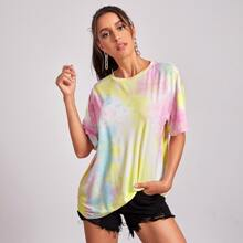 T-Shirt mit Batik und sehr tief angesetzter Schulterpartie