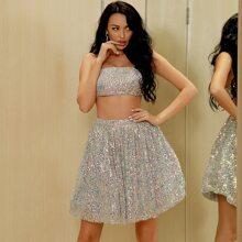 Zip Back Sequin Cami Top & Skirt Set