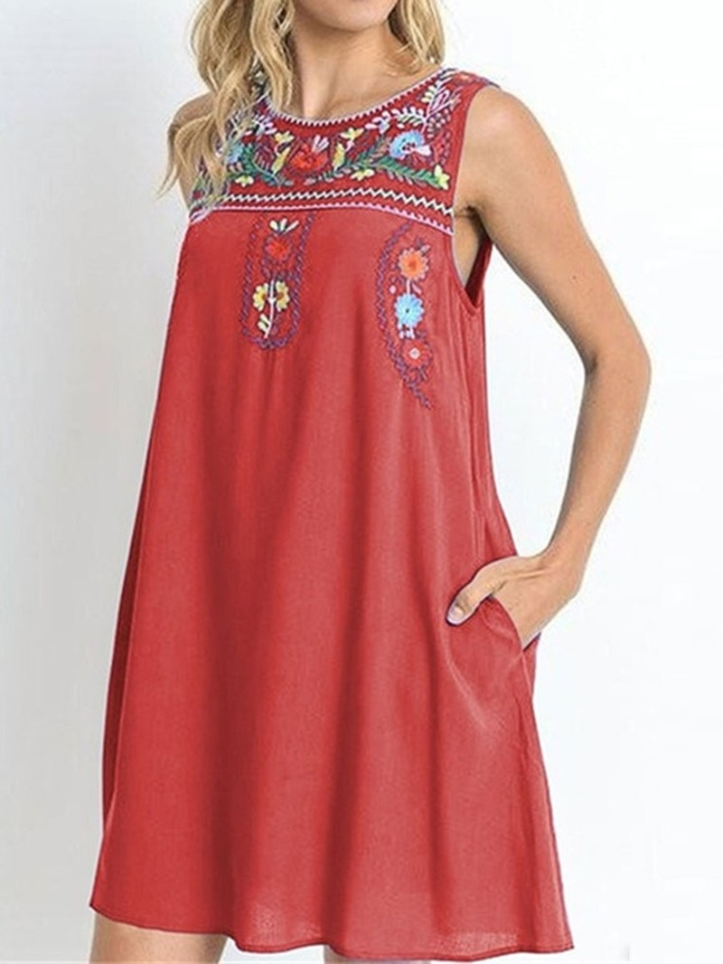 Ericdress Casual Pocket Round Neck Embroidery Above Knee Sleeveless Dress