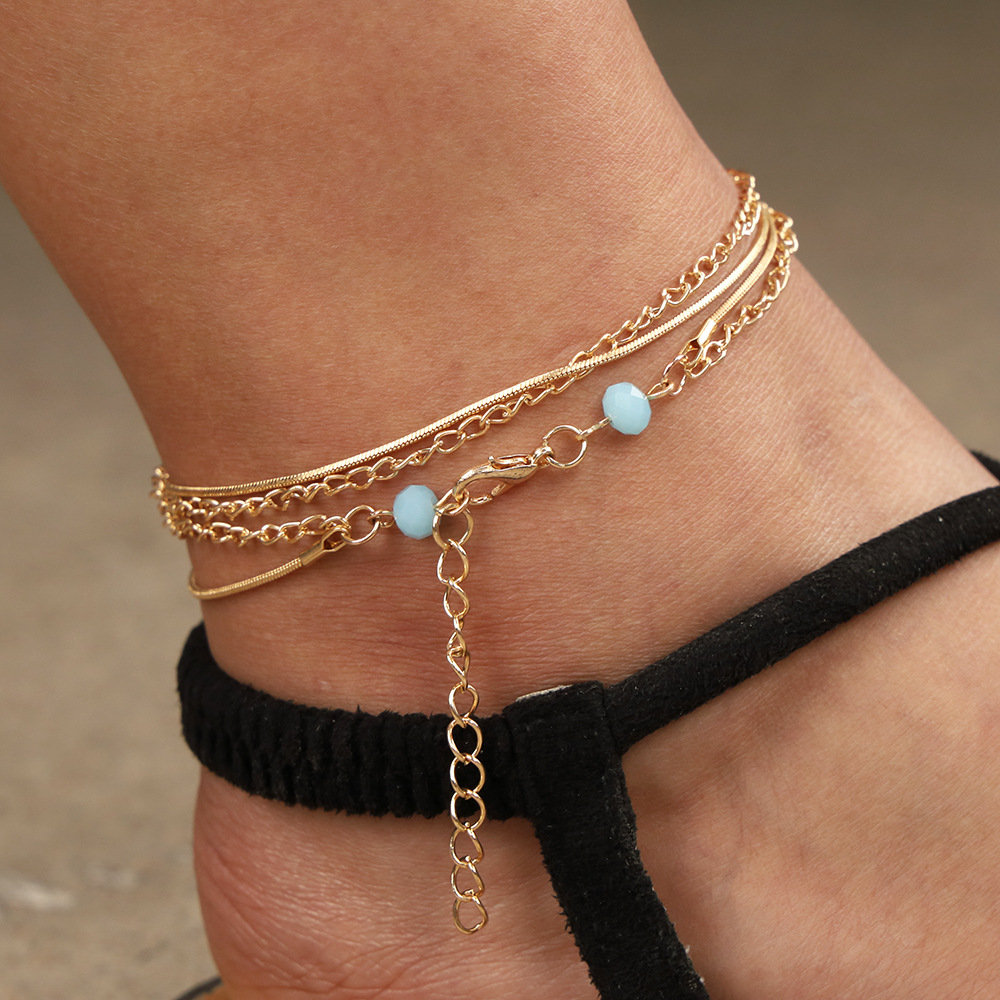 Trendy Double-layered Anklet Blue Beaded Snake-Bone Chain Personality Bohemian Jewelry