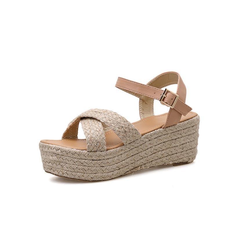 Ericdress Buckle Open Toe Wedge Heel Western Sandals