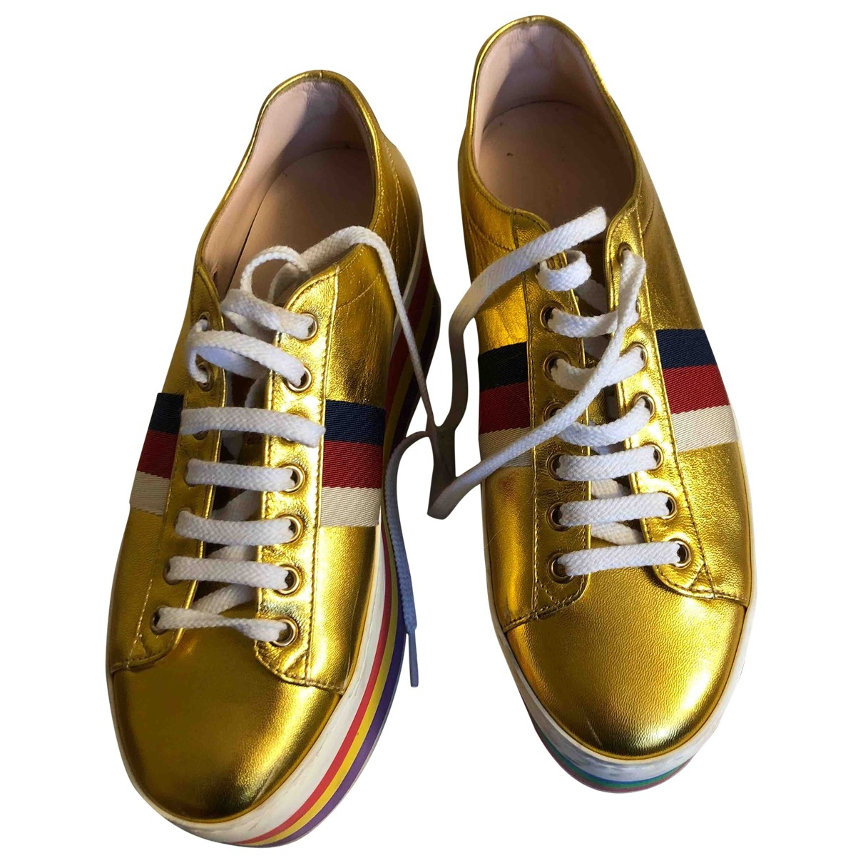 Gucci Peggy Gold Leather Trainers for Women 37 EU