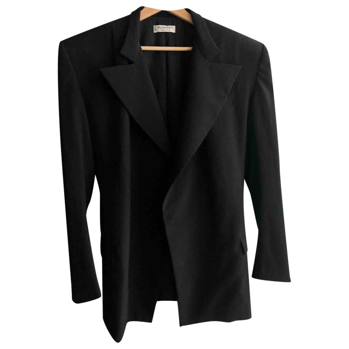 Yves Saint Laurent \N Jacke in  Schwarz Wolle