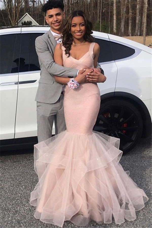 Vestidos de fiesta elegantes con cuello en V rosa | Sirena falbala tul vestidos de noche sin mangas