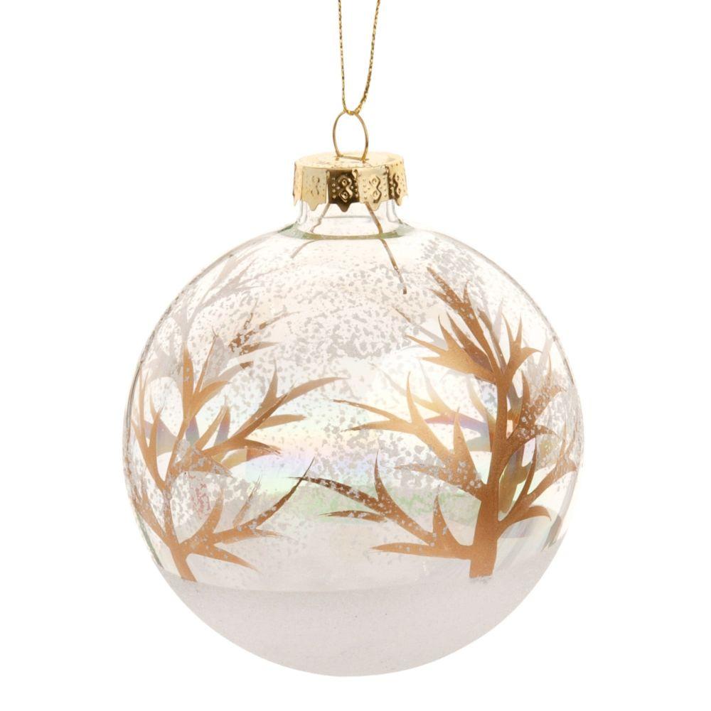 Weihnachtskugel aus Glas mit Druckmotiv, weiss und goldfaben