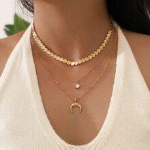3 Stuecke Halskette mit Mond Dekor