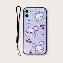 Rabbit Print iPhone Case With Lanyard