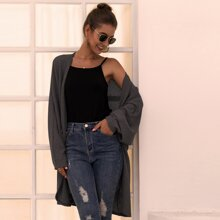 Solid Open Front Oversized Cardigan