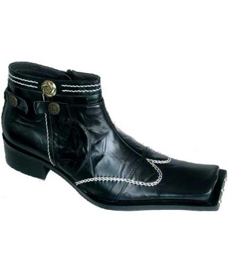 Mens High Fashion Square Toe Wing Style Black Leather Boots