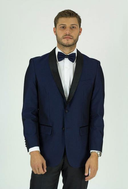 Men's Navy Single Breasted Shawl Lapel Side Vents Classic Fit Jacket