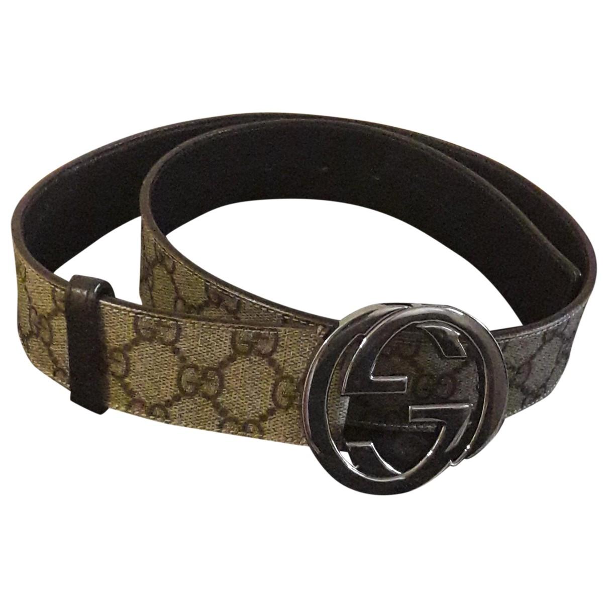 Gucci Interlocking Buckle Brown Cloth belt for Women 95 cm