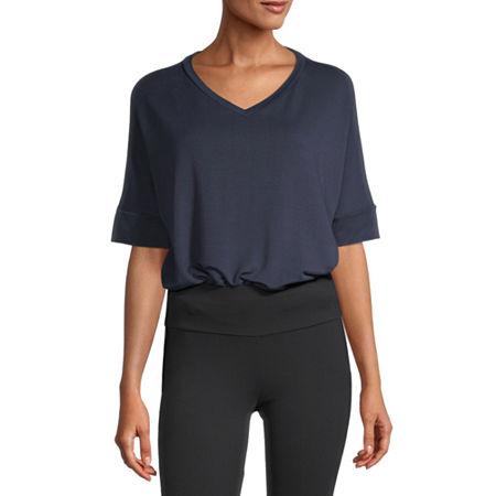 Stylus Step Hem Womens V Neck Short Sleeve Sweatshirt, Small , Blue