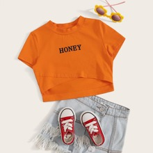 Girls Letter Graphic Cutout Cross Wrap Tee