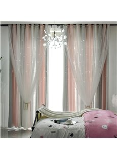 Pink and Grey Vertical Stripe Cloth and White Voile Sewing Together Blackout Curtains