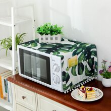 Tropical Leaf Print Microwave Oven Dust Cover