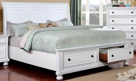 Castor CM7590WH-CK-BED 98.5 California King Size Bed with 2 Drawers  Sleigh Headboard and Bun Feet in