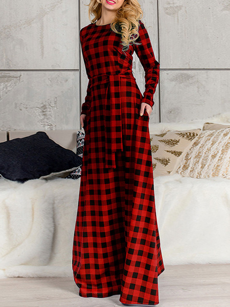 Milanoo Red Maxi Dress Long Sleeve Plaid Round Neck Spring Long Warp Dress For Women