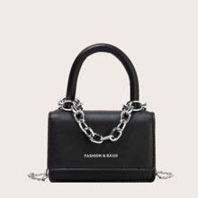 Mini Chain Decor Top Handle Satchel Bag