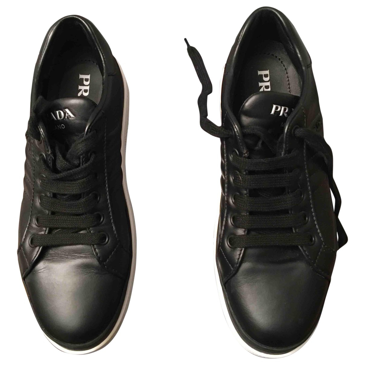 Prada \N Black Leather Trainers for Women 36.5 IT
