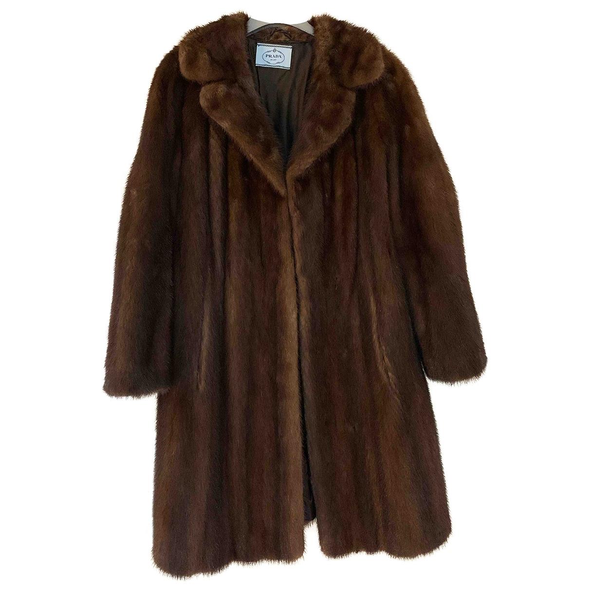 Prada - Manteau   pour femme en vison - marron