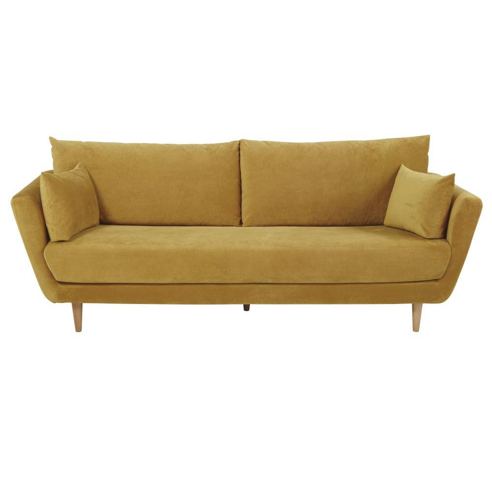 3-Sitzer-Sofa mit Samtbezug, senfgelb Prague