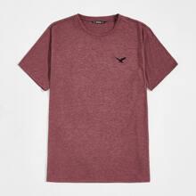 T-Shirt mit Adler Stickereien