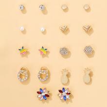 9pairs Rhinestone Decor Stud Earrings