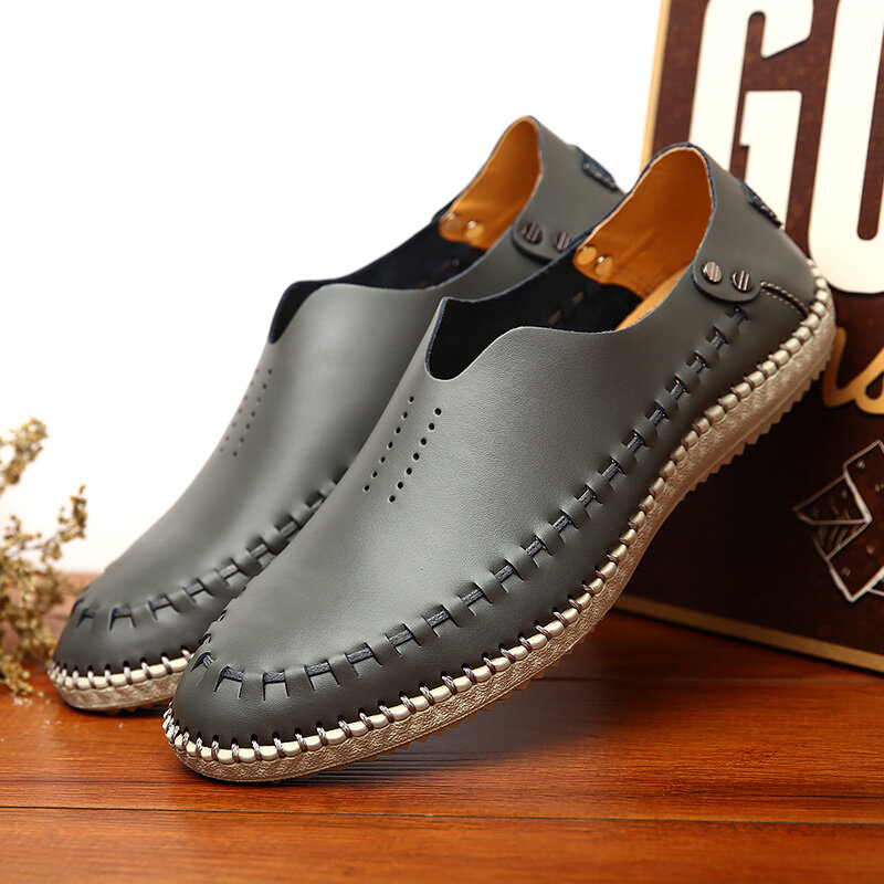 Men Hand Stitching Soft Slip On Leather Driving Shoes