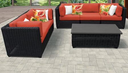 Venice Collection VENICE-06f-TANGERINE 6-Piece Patio Set 06f with 4 Corner Chair   1 Armless Chair   1 Coffee Table - Wheat and Tangerine