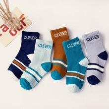 5 Paare Kleinkind Jungen Brief Grafik Socken