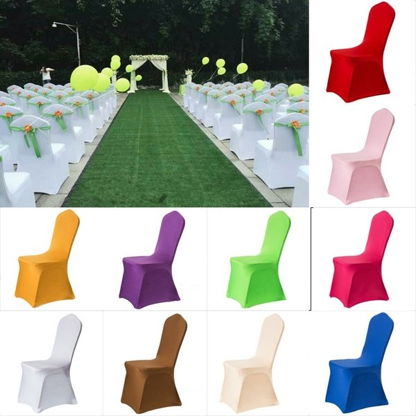 Elegant Solid Color Elastic Stretch Chair Seat Cover Computer Dining Room Hotel Party Decor