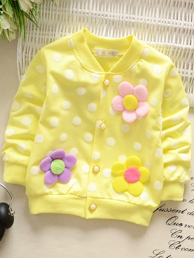 Ericdress Flower Patchwork Polka Dots Baby Girl's Cardigan